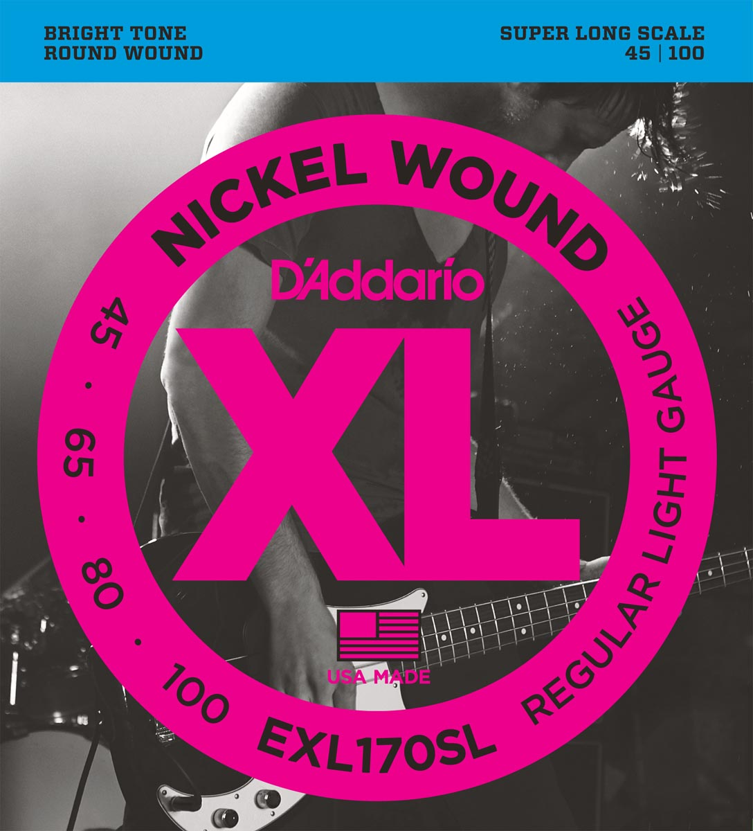DADDARIO EXL170SL NICKEL WOUND, LIGHT, SUPER LONG SCALE [45-100]