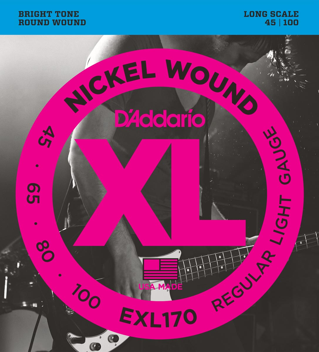 DADDARIO EXL170 NICKEL WOUND BASS, LIGHT, LONG SCALE [45-100]