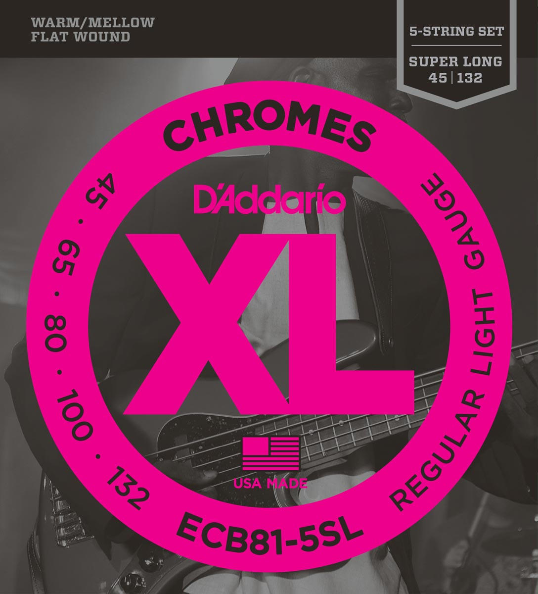 DADDARIO ECB81-5SL CHROMES 5-STRING, LIGHT, SUPER LONG SCALE [45-132]