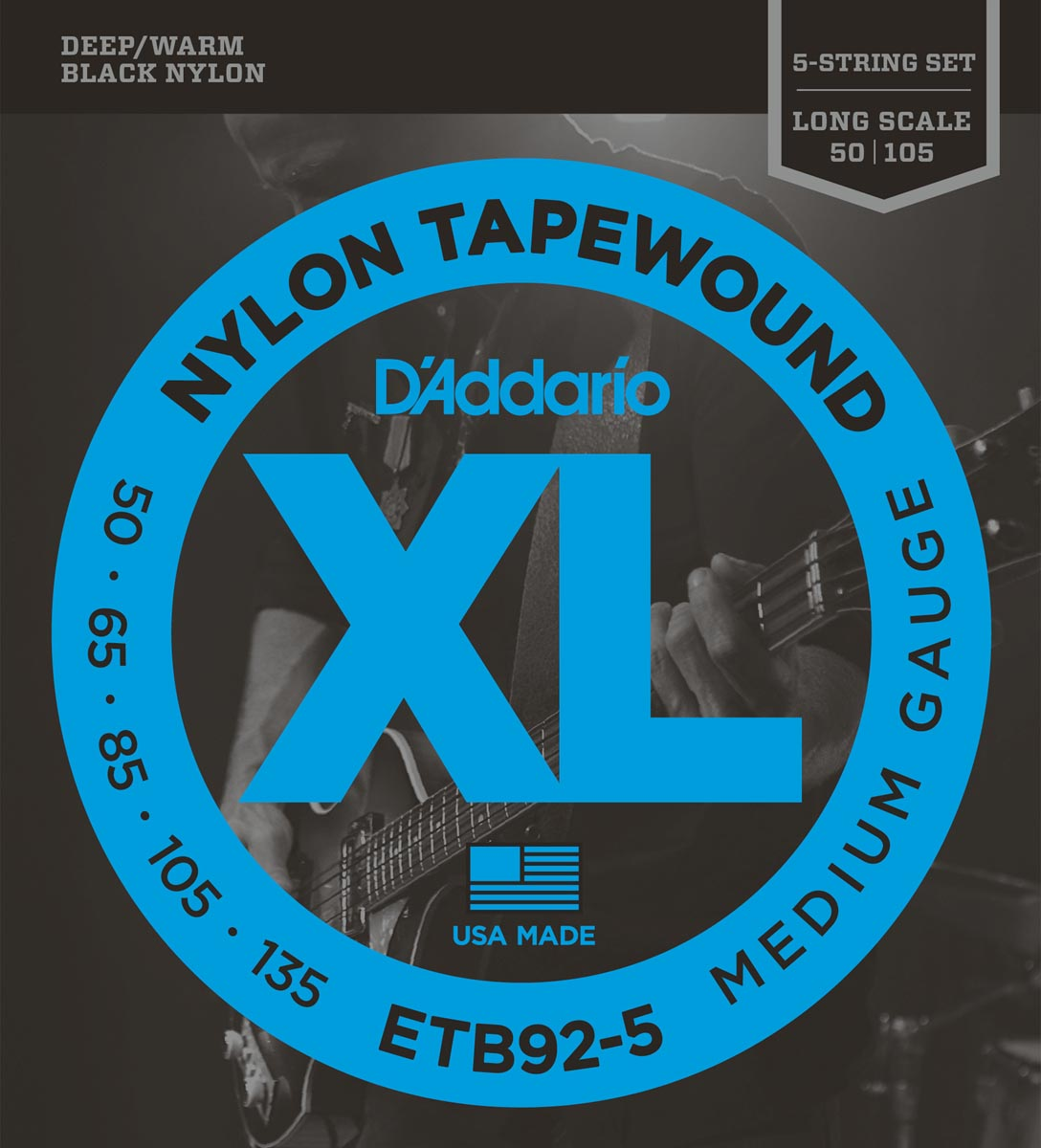 DADDARIO ETB92-5 TAPEWOUND 5-STRING MEDIUM LONG SCALE [50-135]