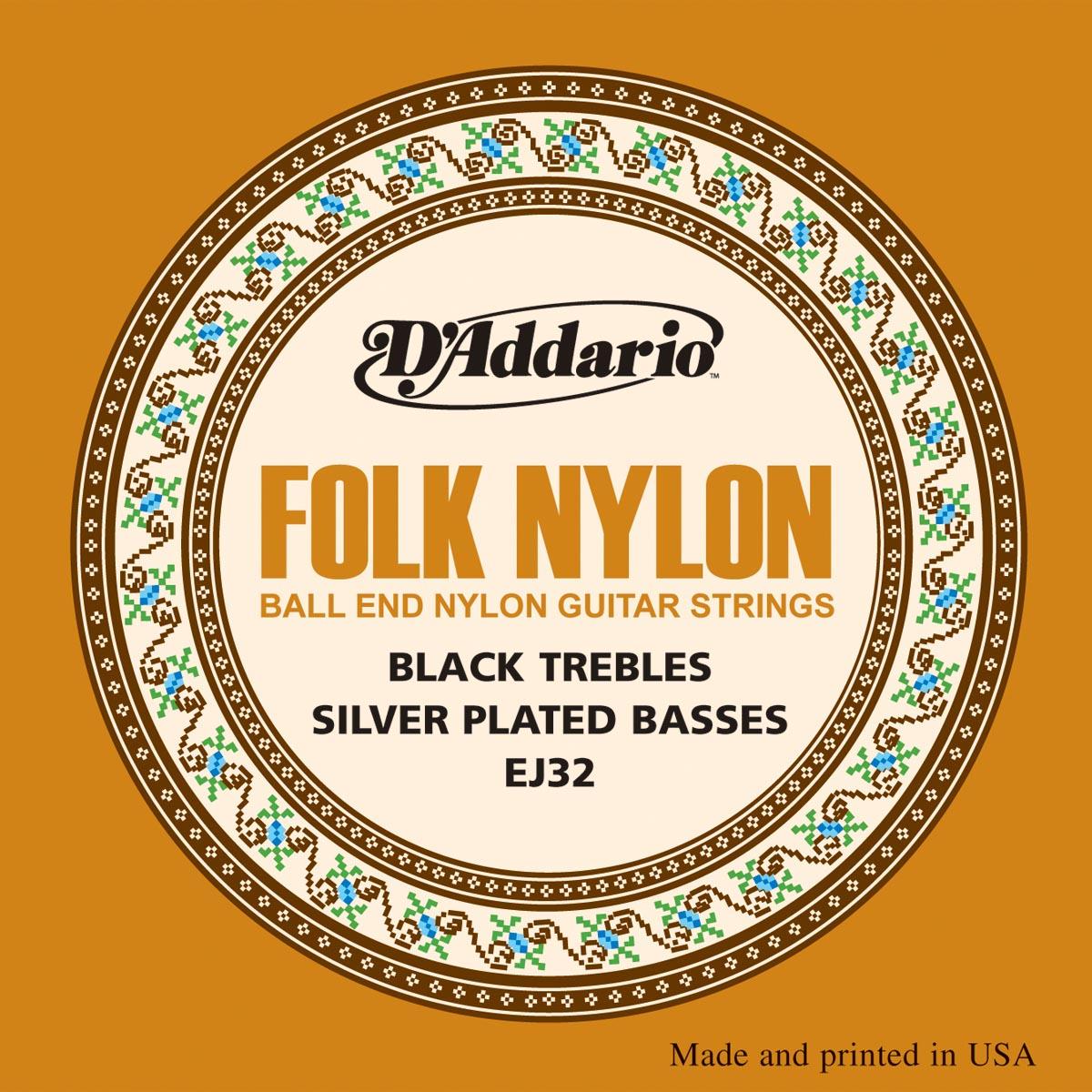 D'ADDARIO EJ32 Folk Nylon, Ball End, Silver Wound/Black Nylon