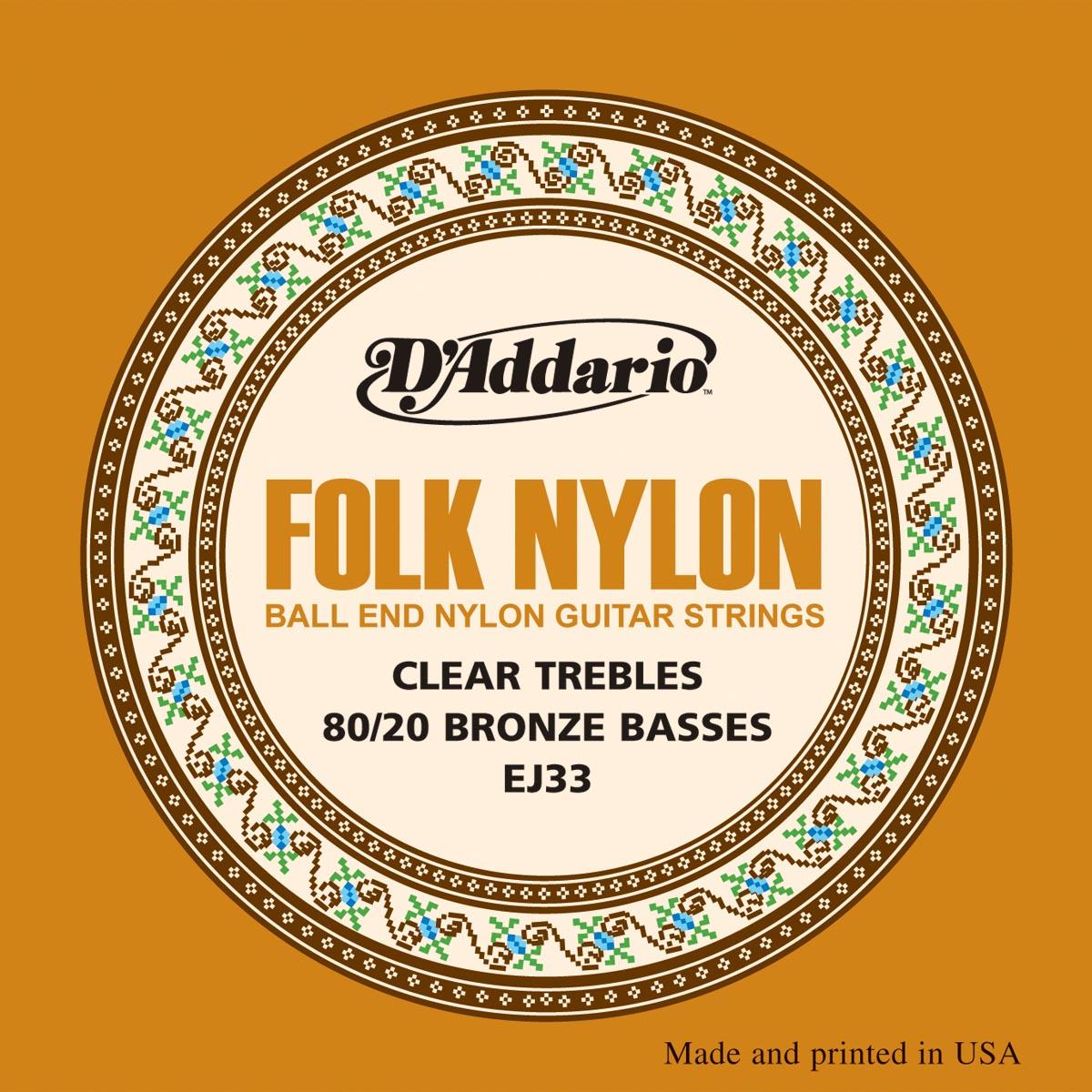 D'ADDARIO EJ33 Folk Nylon, Ball End, 80/20 Bronze/Clear Nylon
