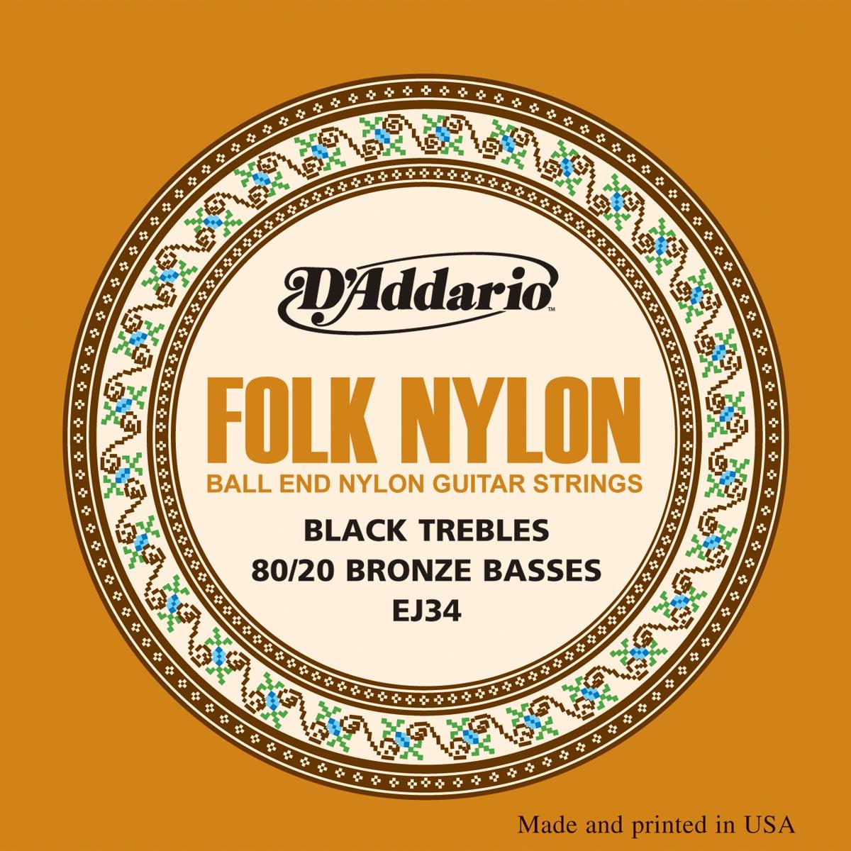 D'ADDARIO EJ34 Folk Nylon, Ball End, 80/20 Bronze/Black Nylon