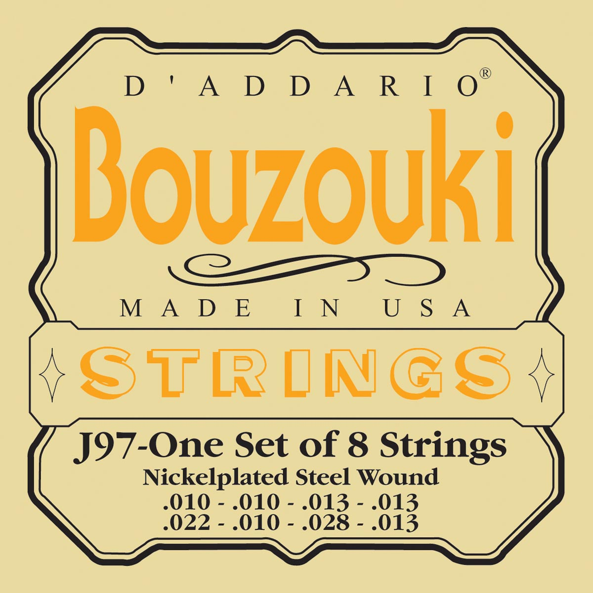 DADDARIO EJ97 GREEK BOUZOUKI, 8-STRING, NICKEL WOUND
