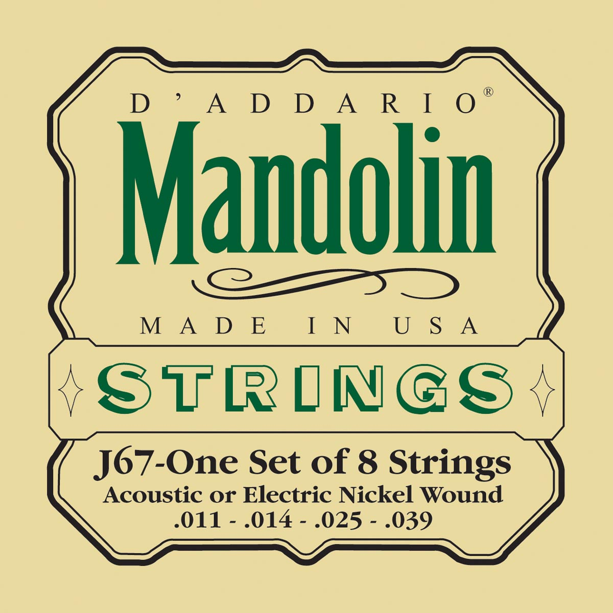 DADDARIO J67 NICKEL MANDOLIN STRINGS, MEDIUM, [11-39]