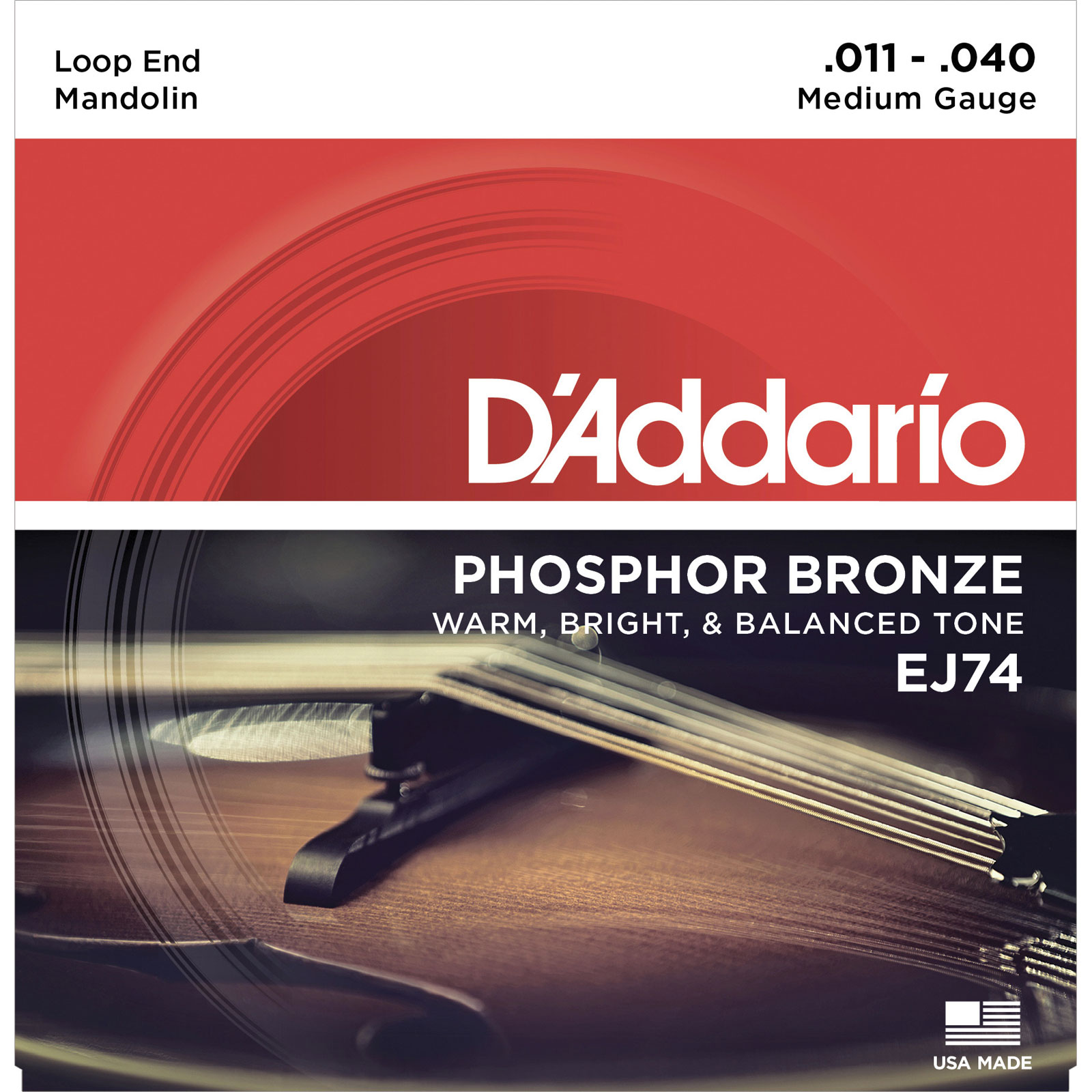 DADDARIO EJ74 MANDOLIN STRINGS, PHOSPHOR BRONZE, MEDIUM, 11-40