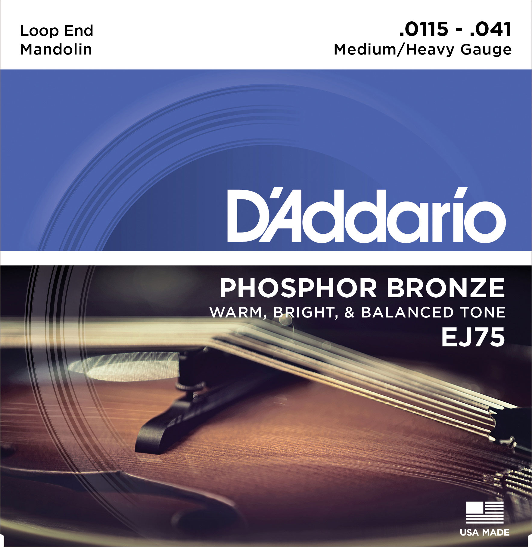 DADDARIO EJ75 MANDOLIN STRINGS PHOSPHOR BRONZE MEDIUM/HEAVY [11.5-41]
