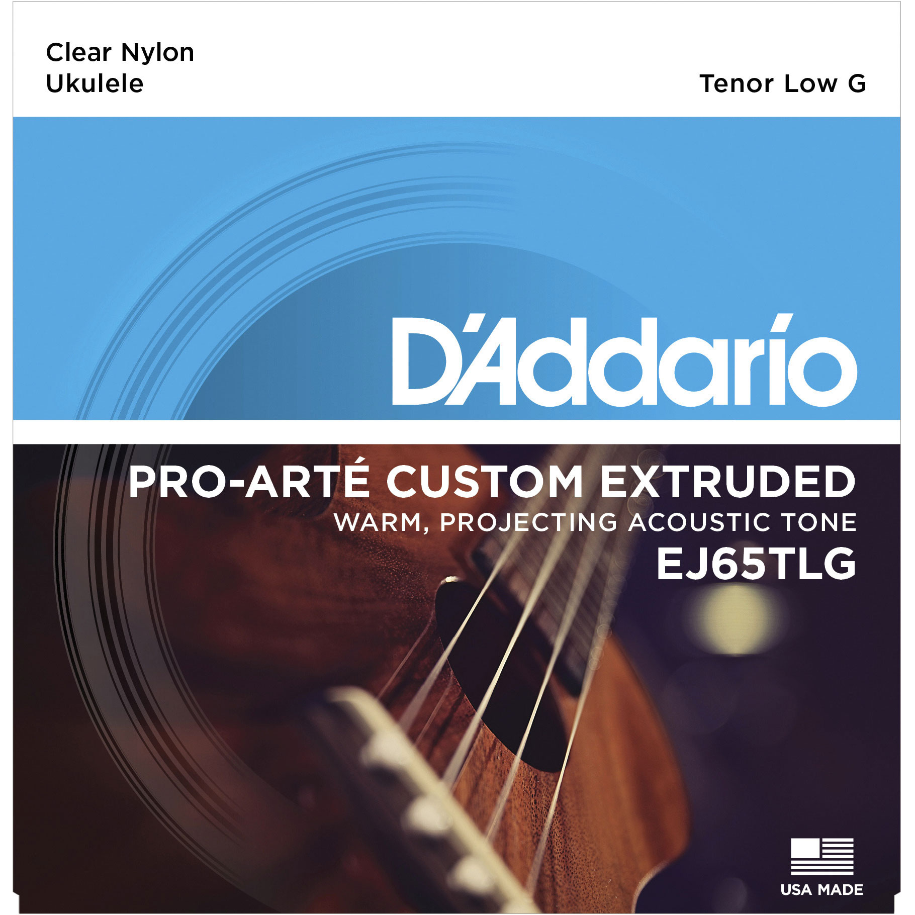 DADDARIO EJ65TLG PRO-ARTÉ CUSTOM EXTRUDED NYLON UKULELE STRINGS, TENOR LOW-G