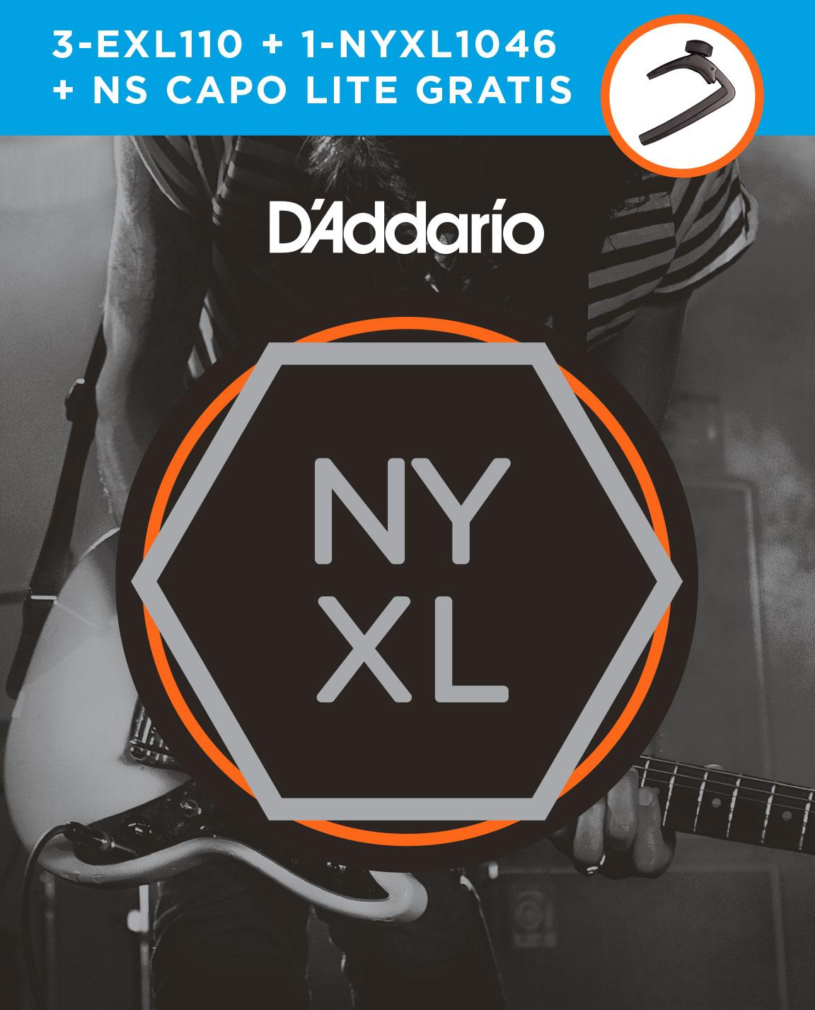 **D'ADDARIO 3 juegos EXL110 + 1 juego NY1046 + Cejilla NS Capo Lite